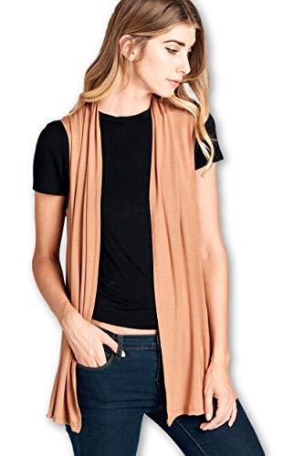 ReneeC. Women's Extra Soft Natural Bamboo Sleeveless Cardigan - Made in USA (Small, Caramel)