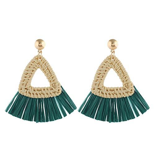 Twinsmall Dangle Earrings Tassel Hoop Earrings Bohemia Fan Shape Drop Earrings Dangle Hook Eardrop for Women Party ... (Green 3)