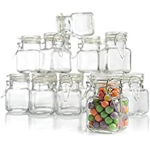 Stock Your Home 3 Ounce Airtight Glass Jar with Leak Proof Rubber Gasket and Hinged Lid for Home and Kitchen, Multipurpose Container for Herbs, Spices, Arts and Crafts Storage and Gift Holder, 12 Pack