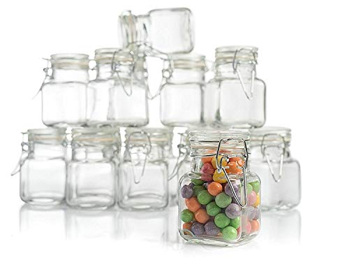 3 oz Small Glass Jars With Airtight Lids, Glass Spice Jars - Leak Proof Rubber Gasket and Hinged Lid for Home and Kitchen, Small Glass Containers with Lids for Party Favors (12 Pack)