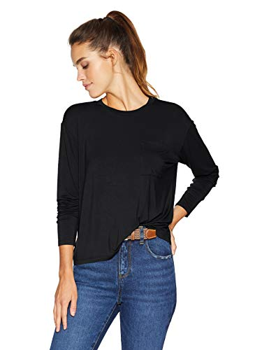 (Amazon Brand - Daily Ritual Women's Jersey Long-Sleeve Boxy Pocket Tee, Black, Large )