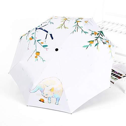 DJSMys Black Rubber Umbrella, Automatic Umbrella, Sunscreen Umbrella, Double-Purpose Four-Season Cat (Color : 22799;)