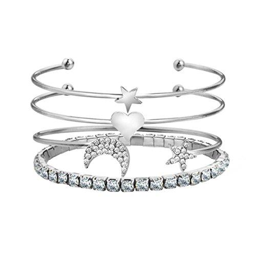 Hemlock 5 PCs Bangle Bracelet, Women 925 Sterling Silver Bracelet Bohemia Jewelry (4 pc Silver-3)