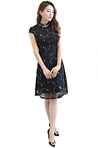 Short Sleeve Cheongsam Dress - Shanghai Story Oriental Dress Short Sleeve Cheongsam Lace Qipao S Black