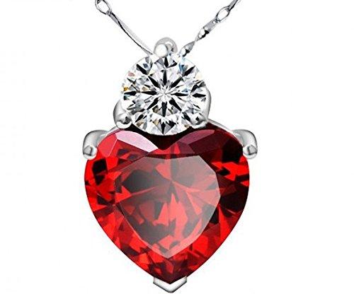 véritable Argent 925collier avec éléments en cristal coeur rouge blanc