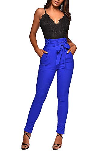 lexiart Pencil Pants for Women High Waist Skinny Long Pants Trousers with Belt Blue M