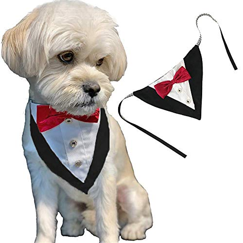 ANIAC Formal Dog Tuxedo Bandanas with Bow Tie Pet Costume Tail Collar Adjustable Neck Accessories Party Suit Wedding Neckwear Scarf for cat and Dogs (Red) ()