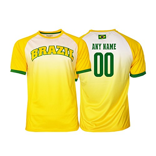 (Pana Brasil Soccer Jersey Brazil Adult Training Custom Name and Number New Season (M, CUSTOM NAME FADDED))