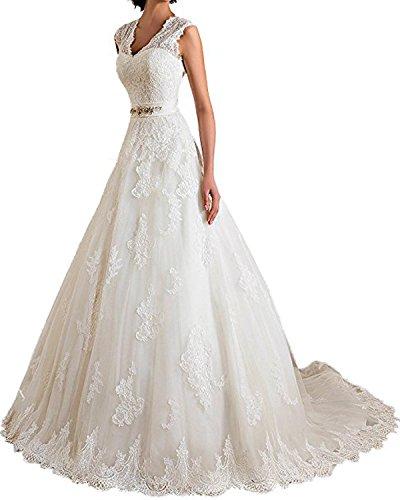 V Neck Keyhole Back Lace Applique Wedding Dress Long A Line Formal Bride Gown(Ivory,6