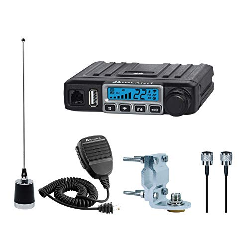Midland - MXT115VP3, MicroMobile Bundle Kit - 15 Watt GMRS Two-Way Radio with 8 Repeater Channels, 142 Privacy Codes, NOAA Weather Scan + Alert & External Magnetic Mount Antenna (Single Pack) (Black)