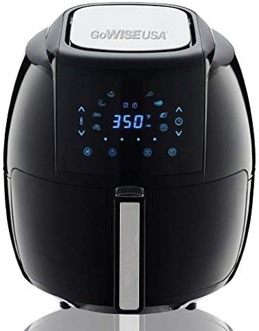 GoWISE USA 1700-Watt 5.8-QT 8-in-1 Digital Air Fryer and 50 Recipes for your Air Fryer Book Black