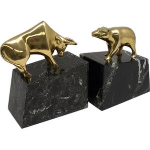 Stock Market Solid Brass Lacquered on Marble, Bookends Statue Bull and Bear Black Marble Stock Market