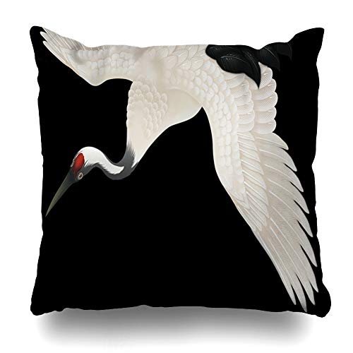 Ahawoso Throw Pillow Cover Watercolor Bird Crane Nature Painting Stork Asian White Asia Black Feather Decorative Pillow Case 18x18 Inches Square Home Decor Pillowcase