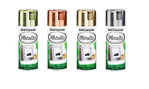 Rust-Oleum Metallic Color Spray Set - 11-Ounce Cans - Brass, Copper, Gold, & - Metal Flake Spray Can