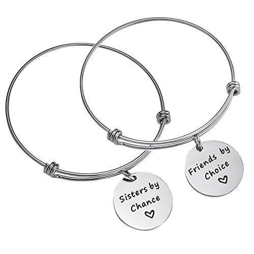 BESPMOSP 2PC/Set Sisters by Chance Friends by Choice Bangle Bracelet Charm Pendant Family Graduation Christmas Birthday Jewelry