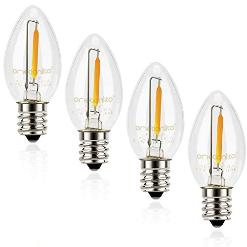 (Night Light Bulbs, Emotionlite C7 Candelabra LED Light Bulbs, E12 Chandelier Base, 4W 5W 6W 7W Incandescent Equivalent, Warm White, 2700K, Clear, UL Listed, 4)