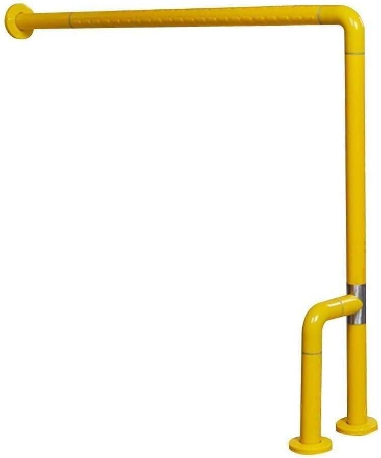 手すり負傷バスタブトイレグラブバー安全手すりハンドルアクセシブルアームレストバスルームグリップ階段手すり、L高齢者向け(色:黄色、サイズ:860x750mm)