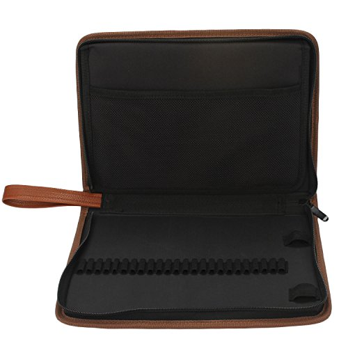 Niutop 72 Slots PU Leder Mäppchen Tragbar Mehrschicht Abwaschbar Stationäre Tasche Buntstifte Federmäppchen Braun T0qeXEP9