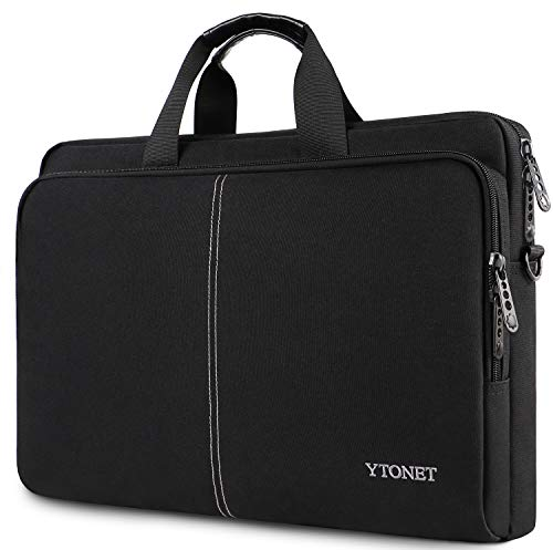 Ytonet 17.3 Inch Laptop Case, Slim Laptop Bag for Men Women, Casual Shoulder Carrying Bags Fit 17.3 17 15.6 Inches Laptops Notebook Computer for College School Office Business Travel Trip, Black