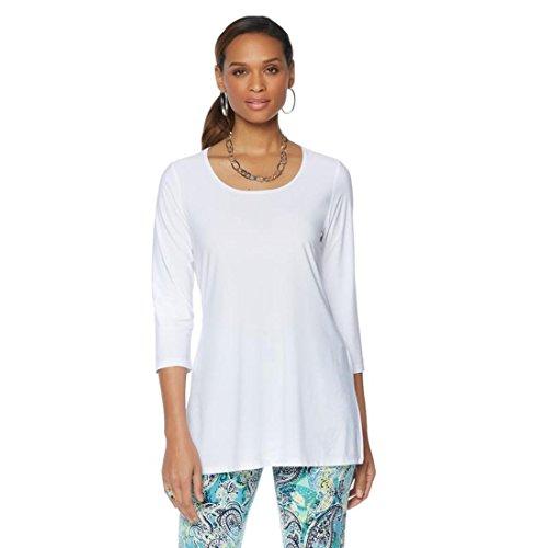 Slinky Brand 2pk 3/4-Slv Long Knit Tunics Side Slits White Black M New 541-647