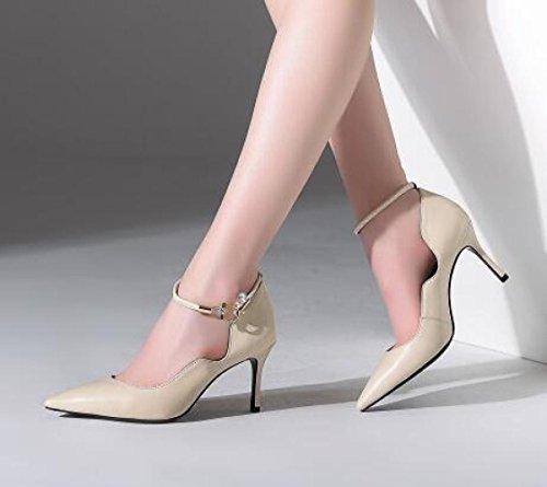 Beige Dames Sexy Pompes Cheville Chaussures Parti Chaussures Toe Cour Hauts Mariée Point Robe La Talons Bride Femmes à De UdfqwYU