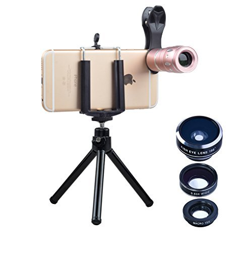 Apexel Universal 4-in-1 Lenses Kit Professional 10x Telephoto Fish Eye Wide Angle & Macro Lens with Mini Tripod for iPhone 7 6/6s plus Samsung HTC and Tablet and most Andriod Phone