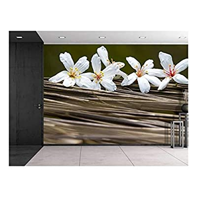 Marvelous Expert Craftsmanship, White Belladonna Flowers Over Branches Wall Mural, Quality Creation