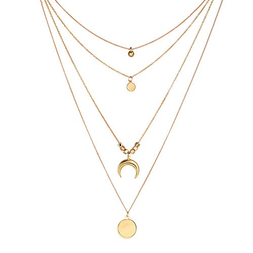 Dainty Layered Choker Necklace Boho Moon Star Pendant Choker Lariat Chain Necklace for Woman Girls ()