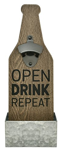 MCS Bar None Drink Repeat Beer Bottle Opener & Catcher Wall Art, 4.5″x13.5″, Brown