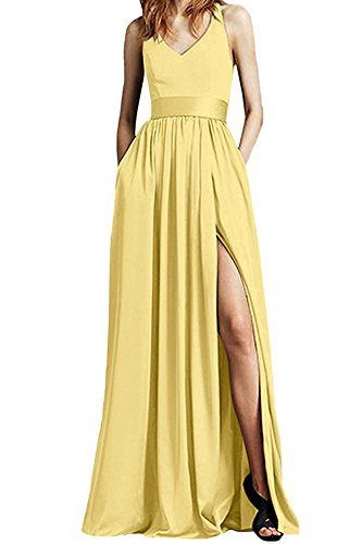 Beauty Leader of mujer Vestido the mangas amarillo Sin trapecio para xxTrUdqw