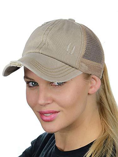 - C.C Ponycap Messy High Bun Ponytail Adjustable Mesh Trucker Baseball Cap Hat, Distressed Beige