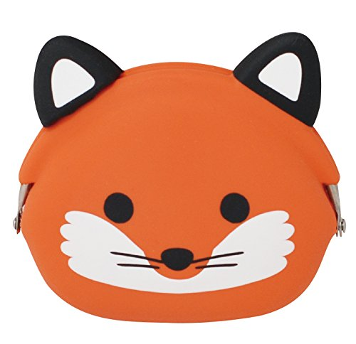 P+G Design Mimi POCHI Friends Silicone Coin Purse, Fox - Cute Change Pouch for Money, Makeup and Hair Accessories - Authentic Japanese Design - Durable Quality