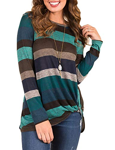 Promaska Women's Crewneck Stripe Color Block Long Sleeve Tops T Shirts Tees Blouses with Knot Front (M, Green)