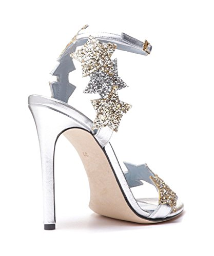 Summer New Women Black Velvet High-heeled Sandals Silver Ankle Strap Buckles Sandals Court Shoes Party Dress Pumps Sequins Shoes Silverheel8cm XdwqPr7PU