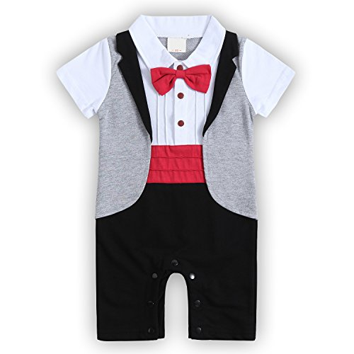 Baby Boys Romper, Toodler Short Sleeve Outfits Infant Tuxedo Onesie with Bow Tie (Thanksgiving Outfit For Baby Boy)