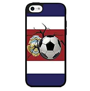 Blue, White and Red Costa Rica Flag with Soccer Ball Hard Snap on Phone Case (iPhone 5c)
