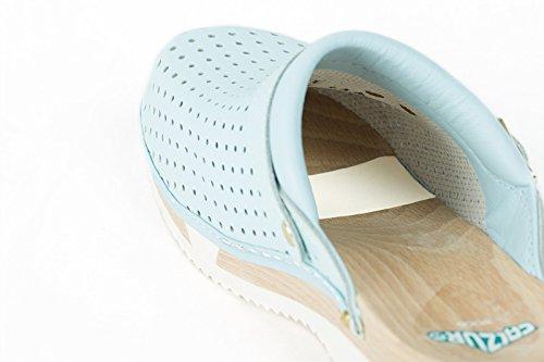 CALZURO WOOD Zoccoli in legno Celeste misura 46 - plantare flessibile - sanitari professionali - tempo libero