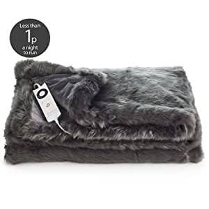 Slate Grey Deluxe Faux Fur Heated Throw - 6 Heat Settings - Warms In 5 Minutes by relaxwell