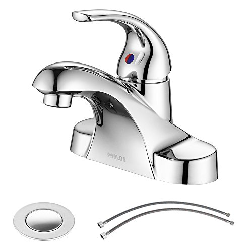 Parlos Single Handle Centerset Bathroom Sink Faucet with Dra