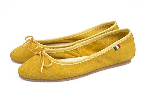 scamosciata Scarpa SilferShoes Giallo In In Donna Ballerina pelle Italy Colore made fw7fI