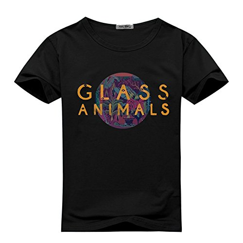 EdmonDonor Mens T-shirts Funny Glass Animals Rock Band Logo Black Size - Little Glasses Rock