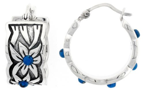Sterling Silver Antiqued Floral Hinged Post Hoop Earrings, 13/16 inch wide