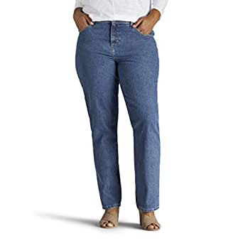 Lee Women's Plus-Size Relaxed Fit All Cotton Straight Leg Jean, aero, 22W Long