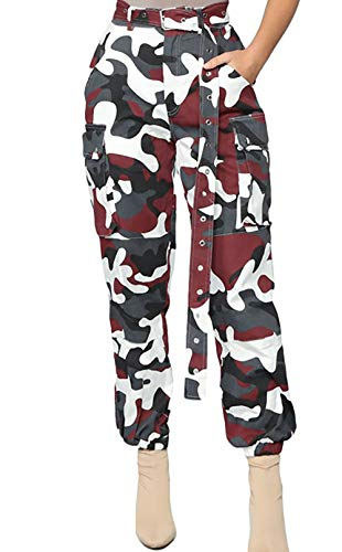 (Voghtic Women's High Waisted Slim Fit Camoflage Camo Jogger Pants with Belt)