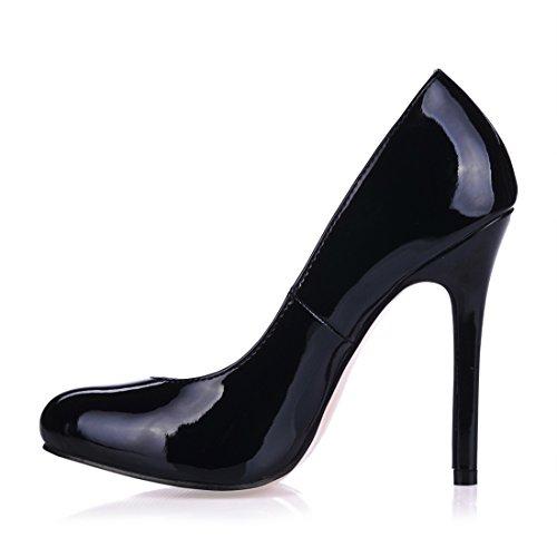 fête escarpins Chau bout plusieurs sexy talon aiguille Rond Coloris Chmile Fermé Haut stiletto Noir a Femmes P5IxpdnT