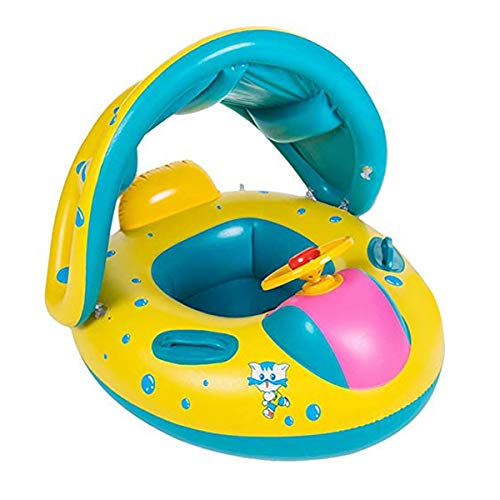 Wishliker Inflatable Baby Toddler Pool Float Swimming Ring with Sun Canopy for The Age 6-36 Months