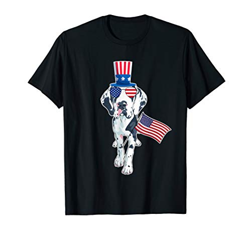 Great Danes Uncle Sam Hat Sunglasses USA Flag 4th of July T-Shirt]()