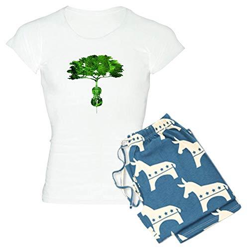 CafePress Cello Tree 2 Pajamas Womens Novelty Cotton Pajama Set, Comfortable PJ Sleepwear