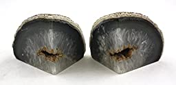 Crystal Allies Gallery: Pair of Polished Agate Geode Halves Bookends w/ Authentic Crystal Allies Stone Card - 1lb to 3lbs