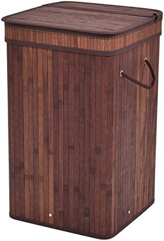 Square Bamboo Hamper Laundry Dark Brown Basket Washing Cloth Storage Bin Bag for Keep Your Clothes Off Of The Floor And Your Space Neat And Clean